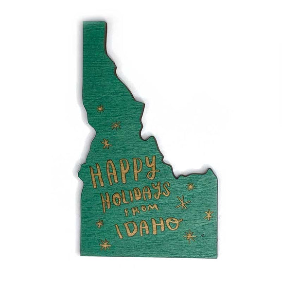Photograph of Laser-engraved Happy Holidays from Idaho Magnet