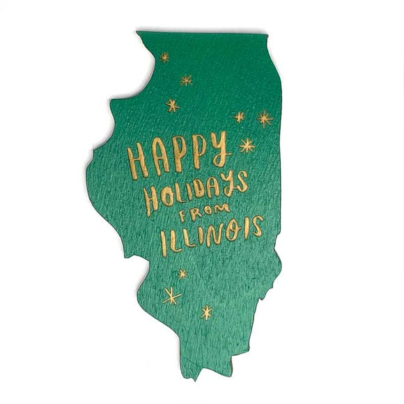 Photograph of Laser-engraved Happy Holidays from Illinois Magnet