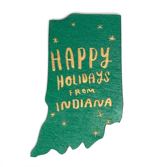 Photograph of Laser-engraved Happy Holidays from Indiana Magnet