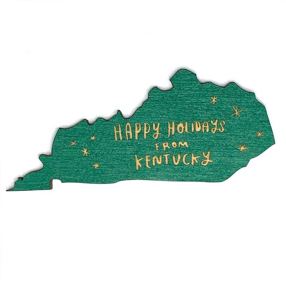 Photograph of Laser-engraved Happy Holidays from Kentucky Magnet