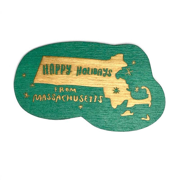 Photograph of Laser-engraved Happy Holidays from Massachusetts Magnet
