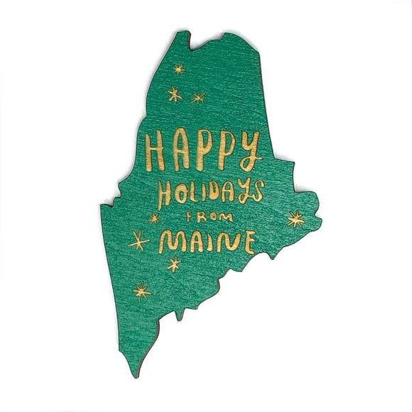 Photograph of Laser-engraved Happy Holidays from Maine Magnet