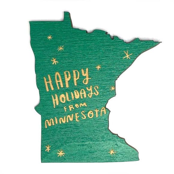 Photograph of Laser-engraved Happy Holidays from Minnesota Magnet