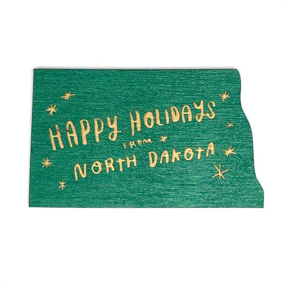 Photograph of Laser-engraved Happy Holidays from North Dakota Magnet