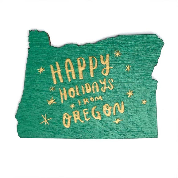 Photograph of Laser-engraved Happy Holidays from Oregon Magnet