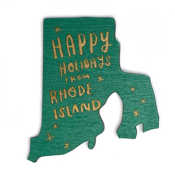Photograph of Laser-engraved Happy Holidays from Rhode Island Magnet