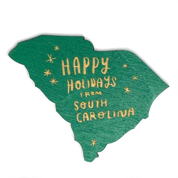 Photograph of Laser-engraved Happy Holidays from South Carolina Magnet