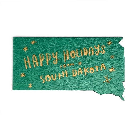 Photograph of Laser-engraved Happy Holidays from South Dakota Magnet