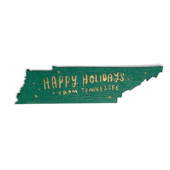 Photograph of Laser-engraved Happy Holidays from Tennessee Magnet
