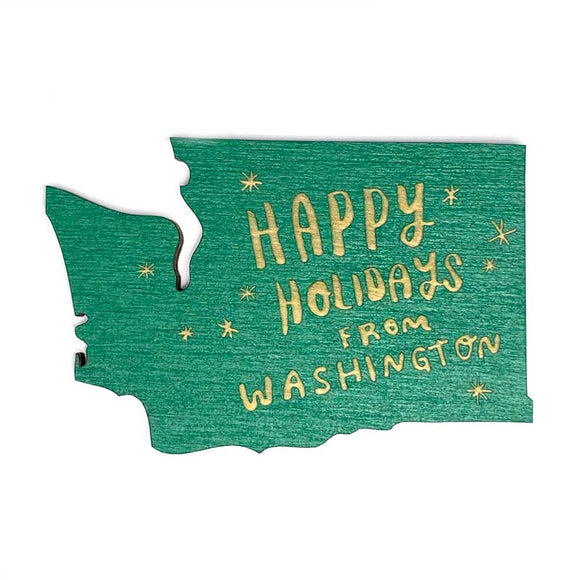 Photograph of Laser-engraved Happy Holidays from Washington Magnet