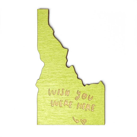 Photograph of Laser-engraved Wish You Were Here Idaho Magnet