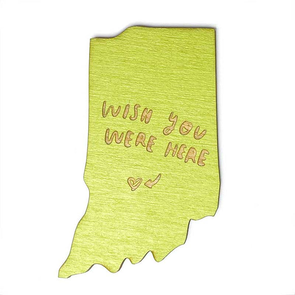 Photograph of Laser-engraved 'Wish You Were Here' Indiana Magnet