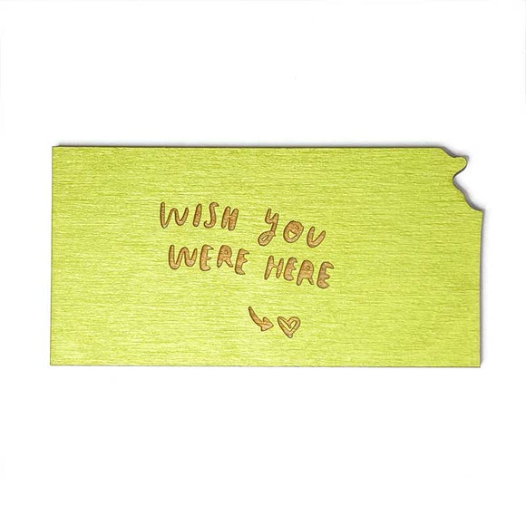 Photograph of Laser-engraved 'Wish You Were Here' Kansas Magnet