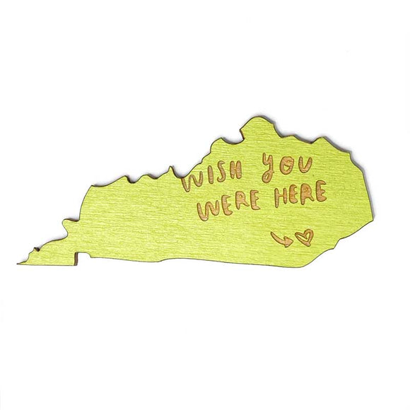 Photograph of Laser-engraved 'Wish You Were Here' Kentucky Magnet