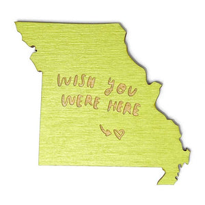 Photograph of Laser-engraved 'Wish You Were Here' Missouri Magnet