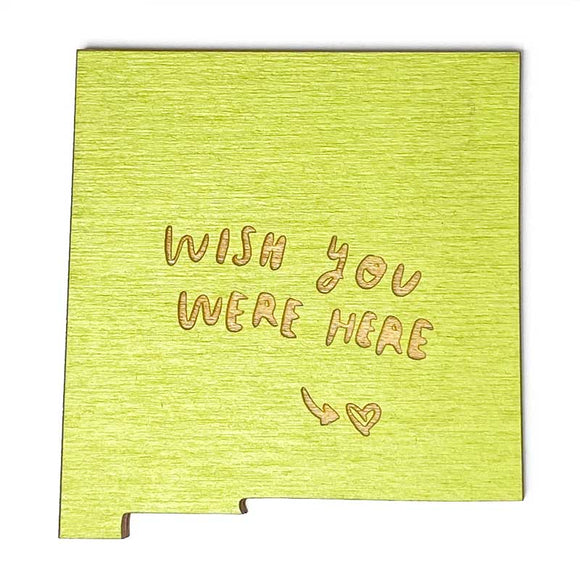 Photograph of Laser-engraved 'Wish You Were Here' New Mexico Magnet