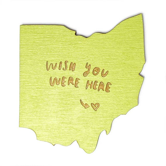 Photograph of Laser-engraved 'Wish You Were Here' Ohio Magnet
