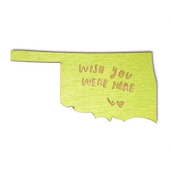 Photograph of Laser-engraved 'Wish You Were Here' Oklahoma Magnet