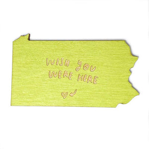 Photograph of Laser-engraved 'Wish You Were Here' Pennsylvania Magnet