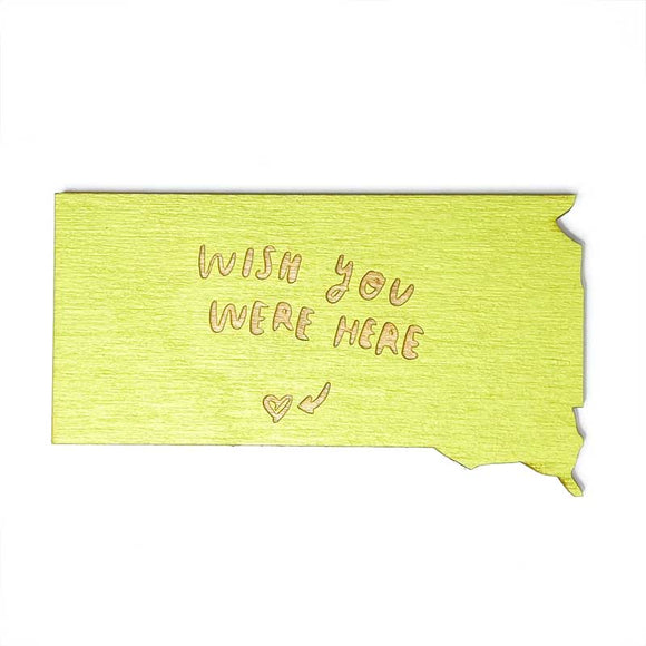Photograph of Laser-engraved 'Wish You Were Here' South Dakota Magnet