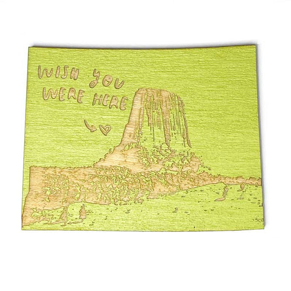 Photograph of Laser-engraved 'Wish You Were Here' Wyoming Magnet