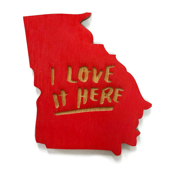 Photograph of Laser-engraved 'I Love It Here' Georgia Magnet