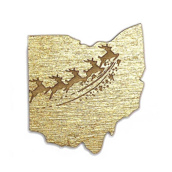 Photograph of Laser-engraved Ohio Reindeer Magnet