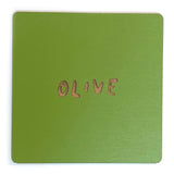 Photograph of an olive color swatch