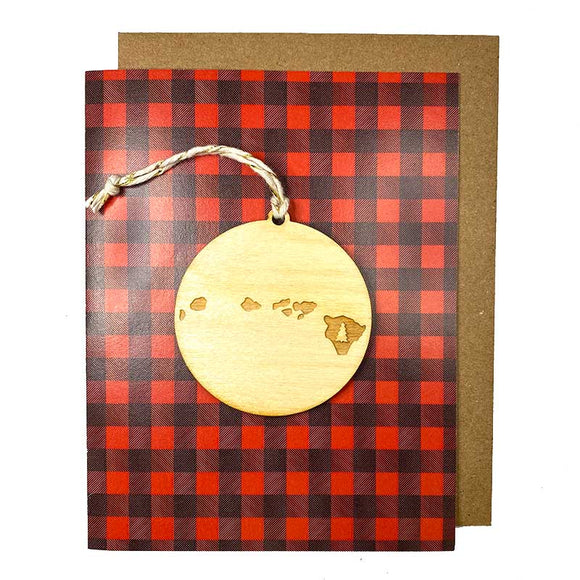 Photograph of Laser-engraved Hawaii Tree Ornament with Card