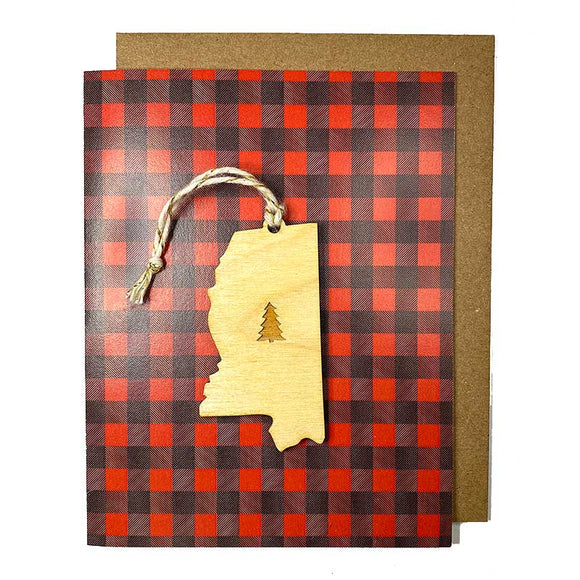 Photograph of Laser-engraved Mississippi Tree Ornament with Card