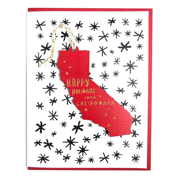 Photograph of Laser-engraved 'Happy Holidays from California' Ornament with Card