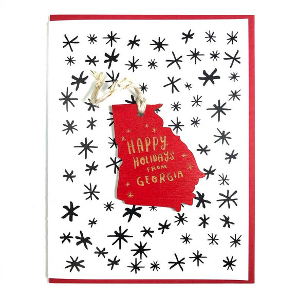 Photograph of Laser-engraved 'Happy Holidays from Georgia' Ornament with Card