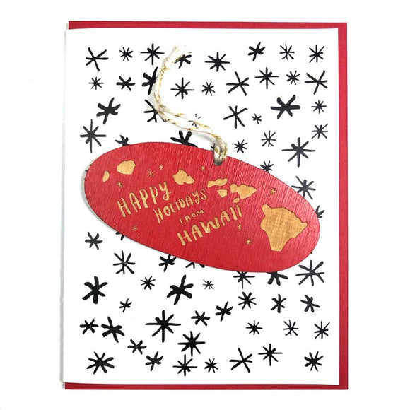 Photograph of Laser-engraved Happy Holidays from Hawaii Ornament with Card