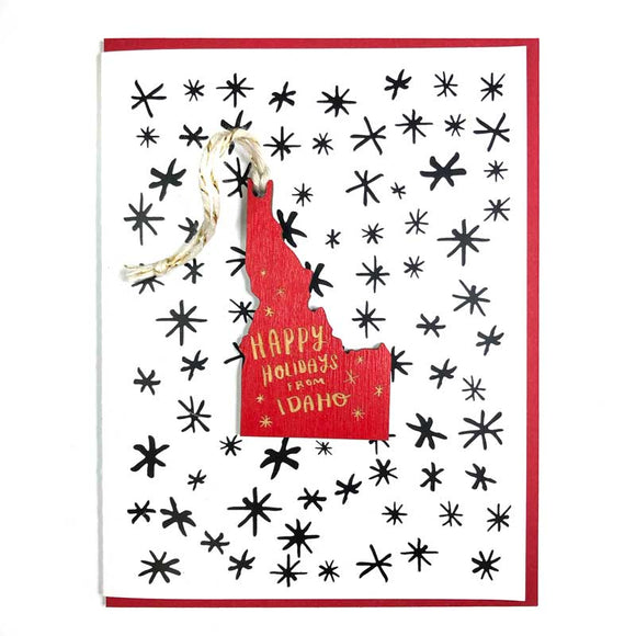 Photograph of Laser-engraved Happy Holidays from Idaho Ornament with Card