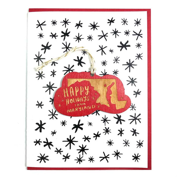 Photograph of Laser-engraved Happy Holidays from Maryland Ornament with Card
