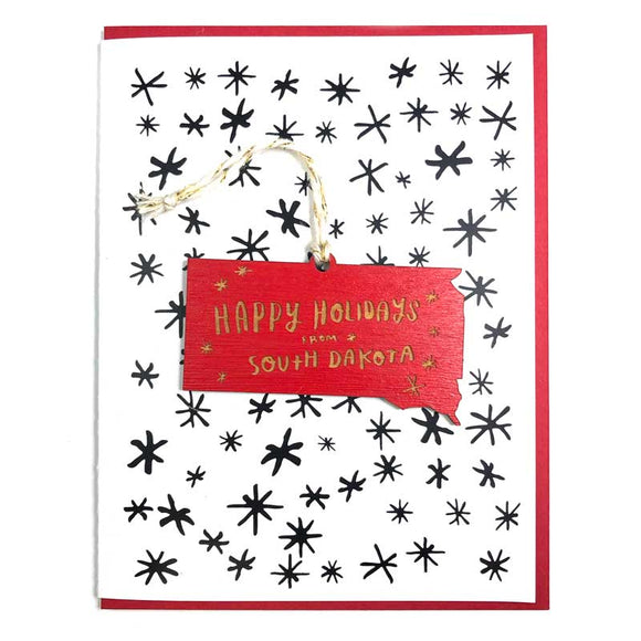 Photograph of Laser-engraved Happy Holidays from South Dakota Ornament with Card