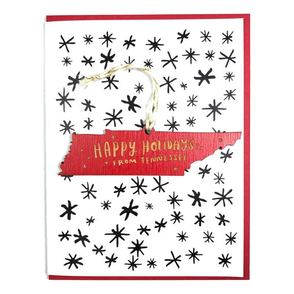 Photograph of Laser-engraved Happy Holidays from Tennessee Ornament with Card