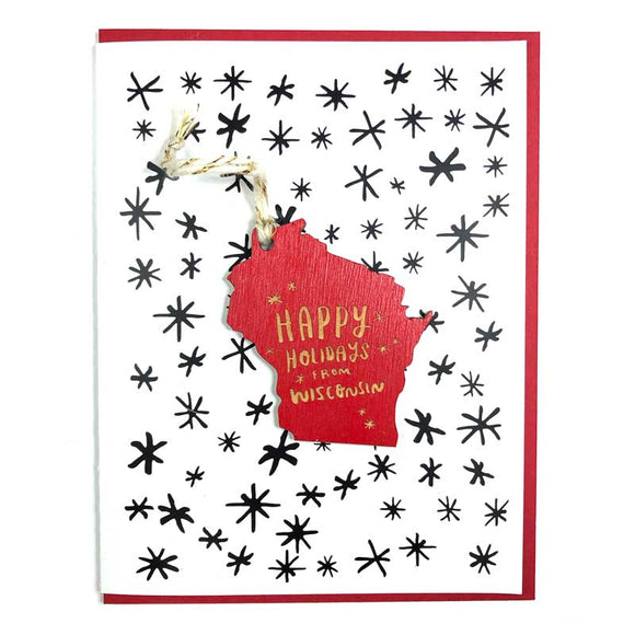 Photograph of Laser-engraved Happy Holidays from Wisconsin Ornament with Card