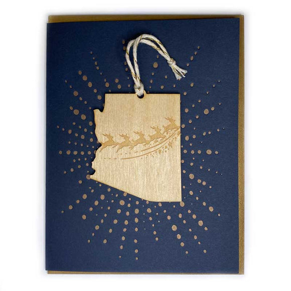 Photograph of Laser-engraved Arizona Reindeer Ornament with Card