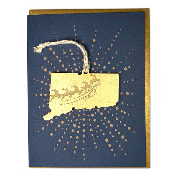 Photograph of Laser-engraved Connecticut Reindeer Ornament with Card