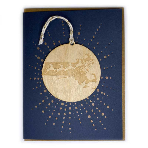 Photograph of Laser-engraved Massachusetts Reindeer Ornament with Card