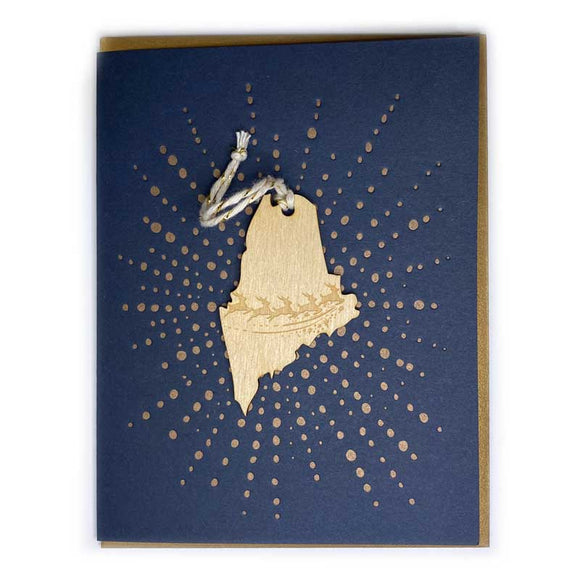 Photograph of Laser-engraved Maine Reindeer Ornament with Card