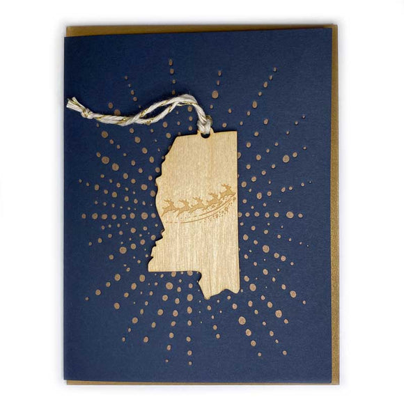Photograph of Laser-engraved Mississippi Reindeer Ornament with Card