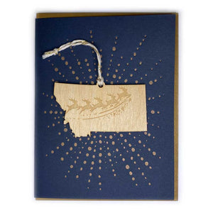 Photograph of Laser-engraved Montana Reindeer Ornament with Card