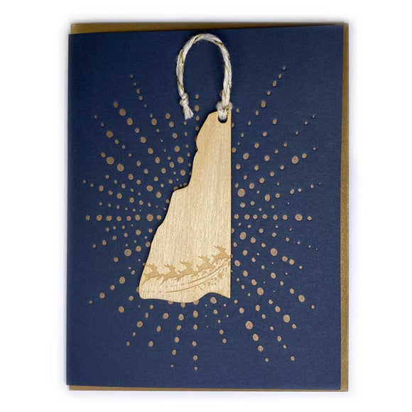Photograph of Laser-engraved New Hampshire Reindeer Ornament with Card