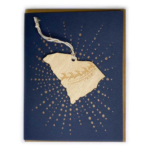 Photograph of Laser-engraved South Carolina Reindeer Ornament with Card