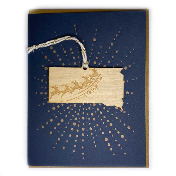 Photograph of Laser-engraved South Dakota Reindeer Ornament with Card