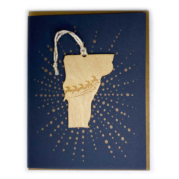 Photograph of Laser-engraved Vermont Reindeer Ornament with Card