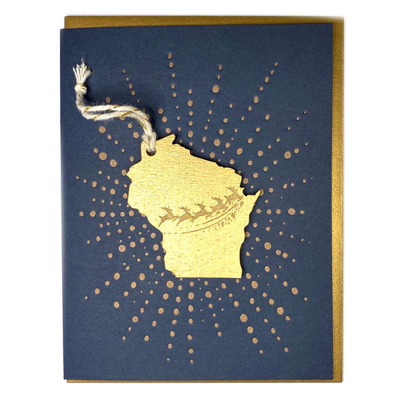 Photograph of Laser-engraved Wisconsin Reindeer Ornament with Card
