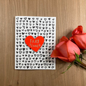 'Stay Tender' Letterpress Card with Laser-engraved Heart Magnet